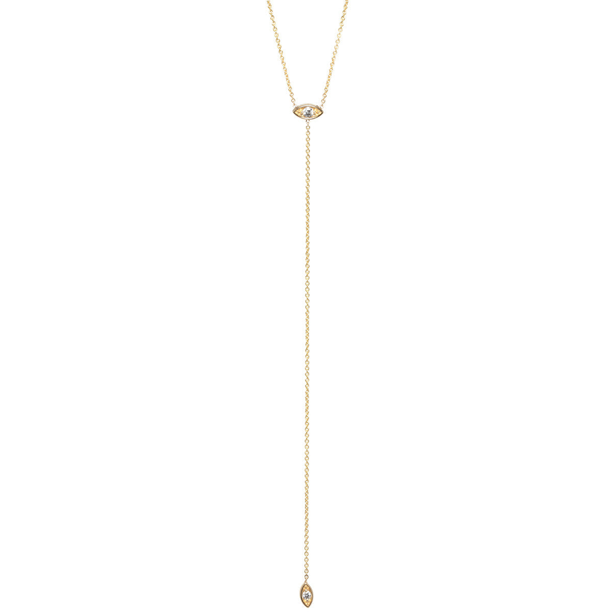 14k short diamond eye lariat