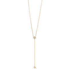 14k short diamond shape lariat necklace