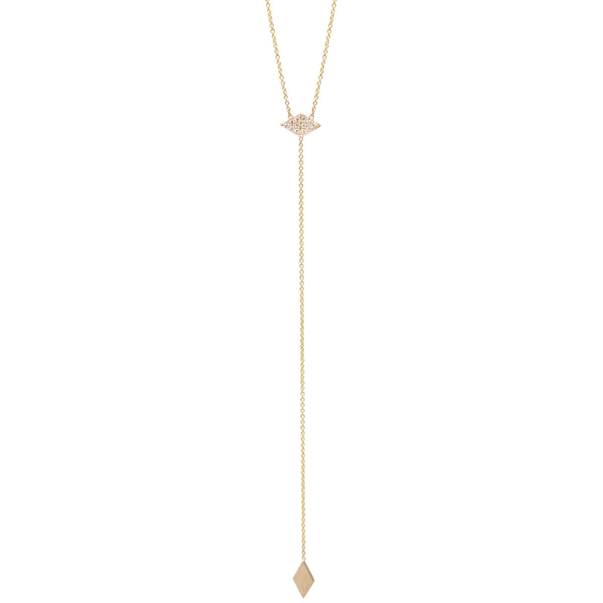 14k pave diamond shaped lariat necklace