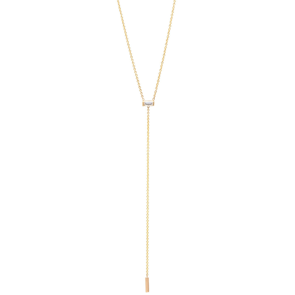 14k short baguette lariat necklace