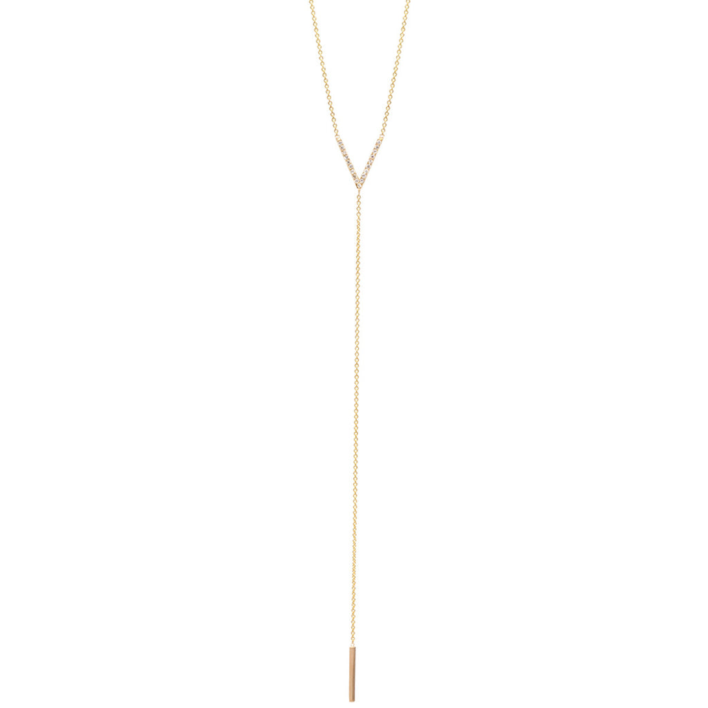 14k pave small V lariat necklace
