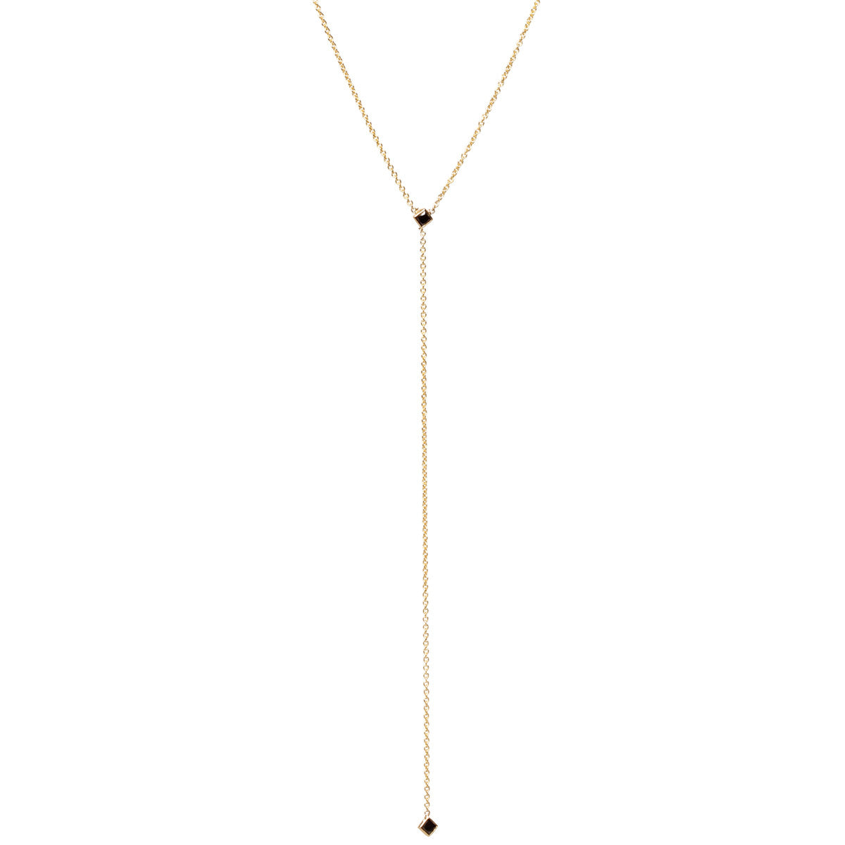 14k black diamond lariat necklace