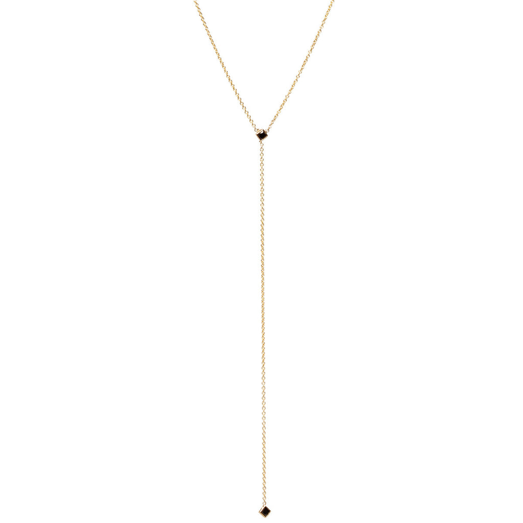 Zoë Chicco 14kt Yellow Gold Black Diamond Lariat Necklace