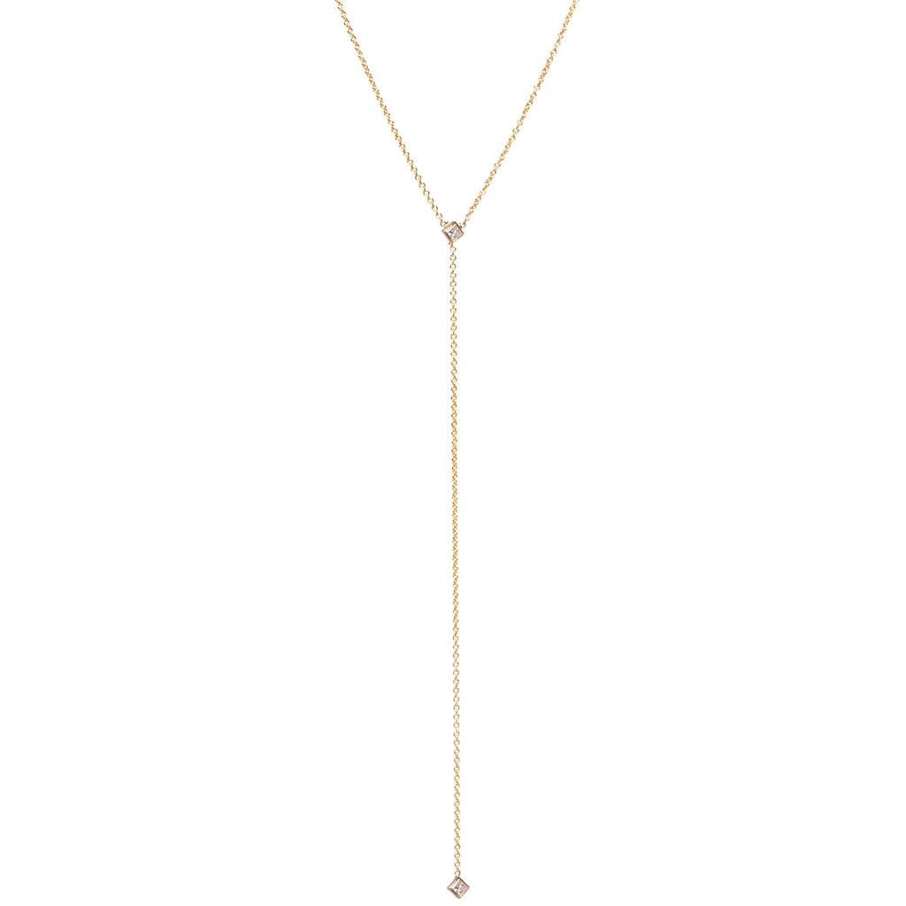 Zoë Chicco 14kt Yellow Gold White Diamond Lariat Necklace