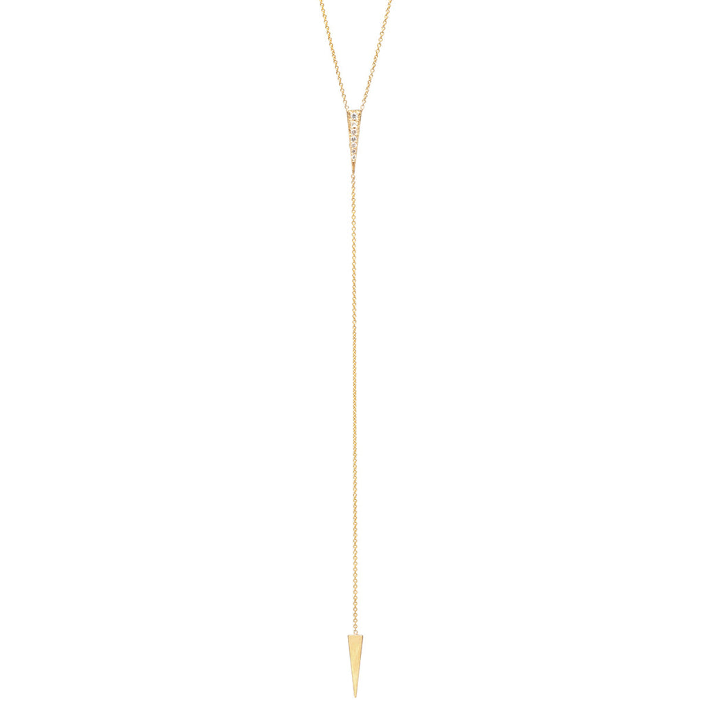 14k small long pave triangle lariat necklace