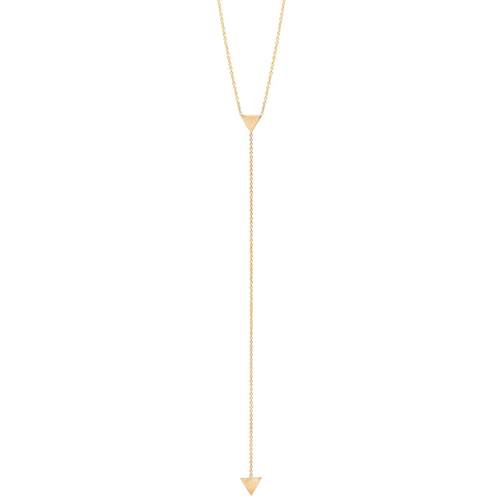 14k short small triangle lariat necklace