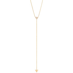 14k short small pave triangle lariat necklace