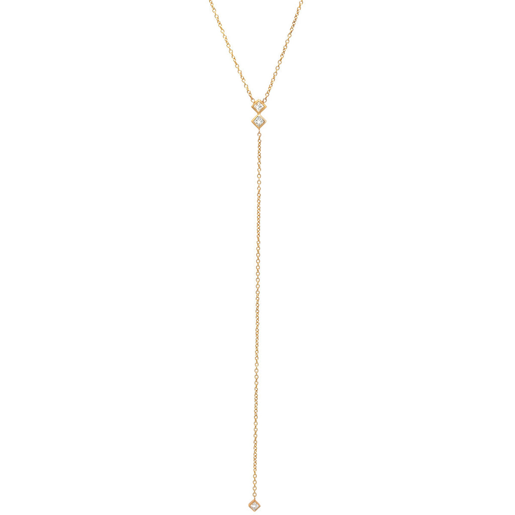 14k 3 princess diamond lariat necklace