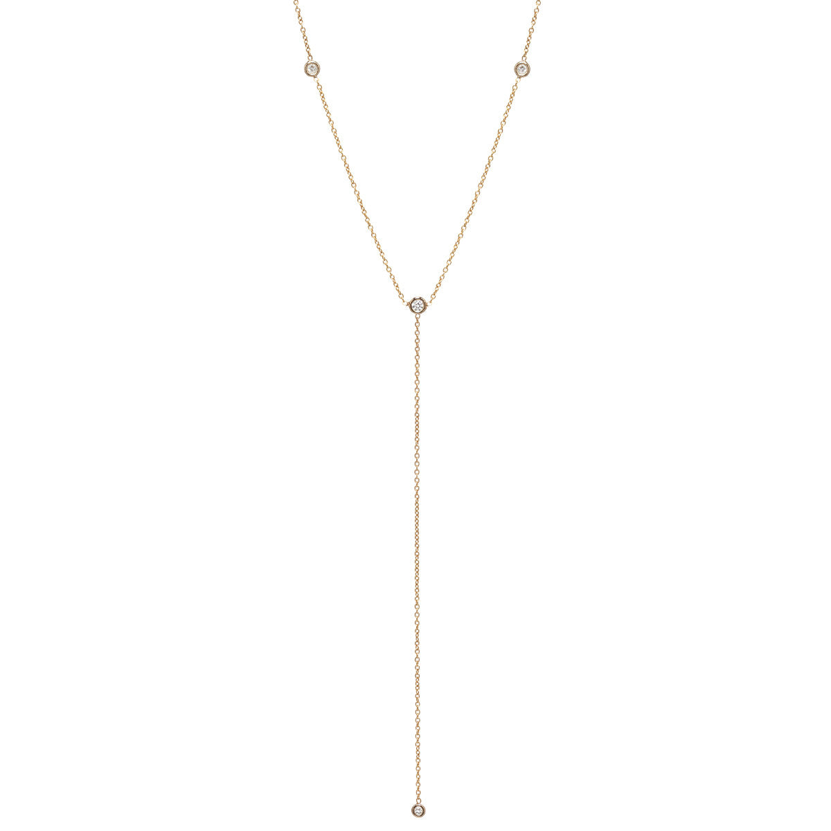 14k 4 diamond lariat necklace