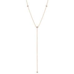 Zoë Chicco 14kt Yellow Gold 4 Floating White Diamond Lariat Necklace