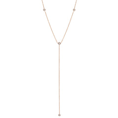 Zoë Chicco 14kt Rose Gold 4 Floating White Diamond Lariat Necklace