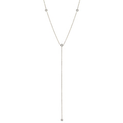 Zoë Chicco 14kt White Gold 4 Floating White Diamond Lariat Necklace