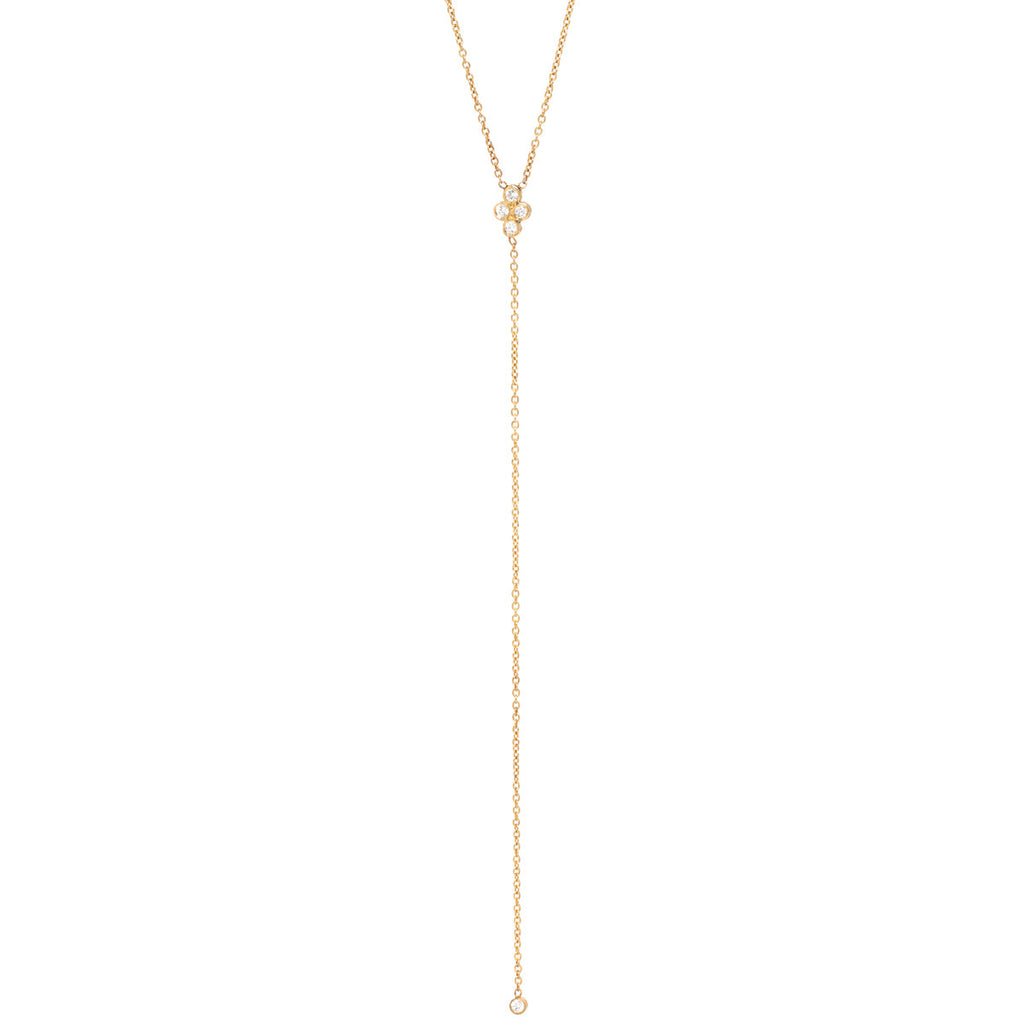 14k quad diamond lariat necklace