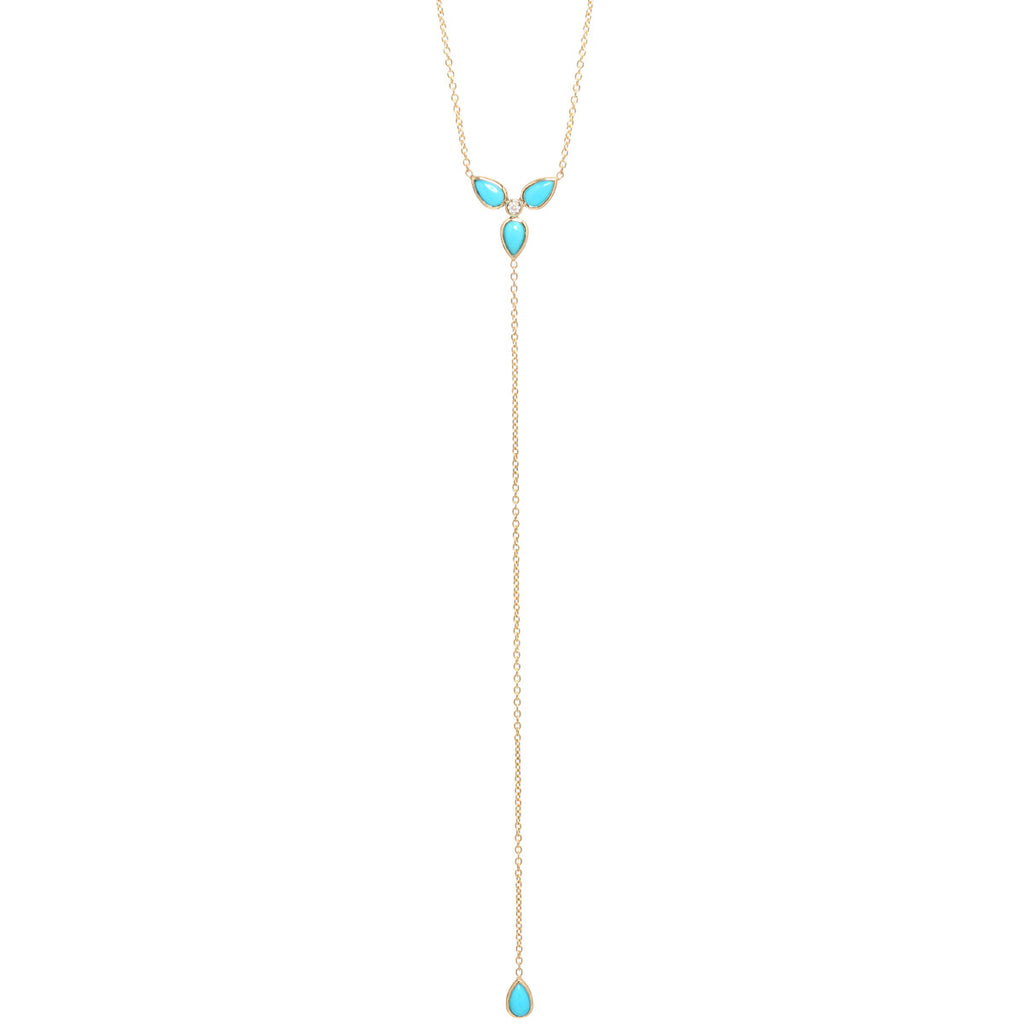 14k 3 turquoise tear lariat necklace