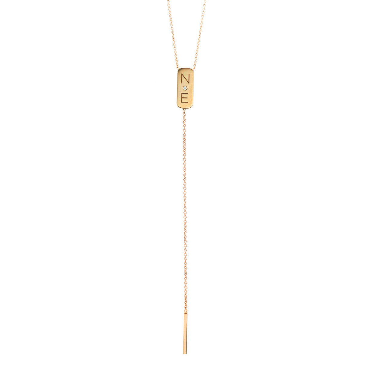 14k two initial bar lariat necklace