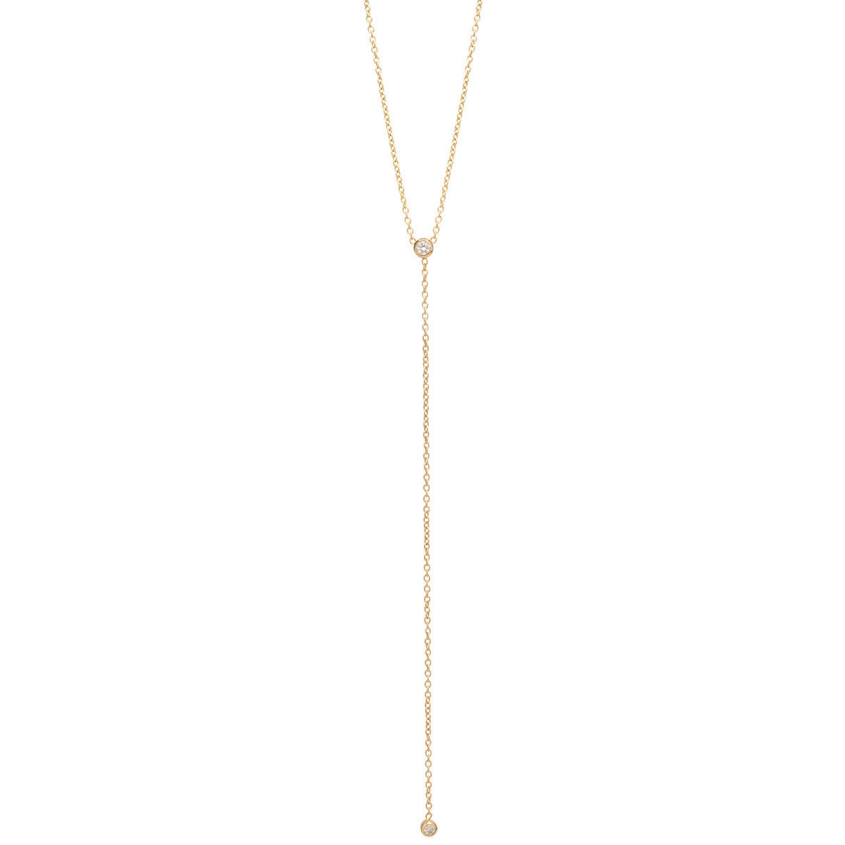 Zoë Chicco 14kt Yellow Gold White Diamond Bezel Set Lariat Necklace