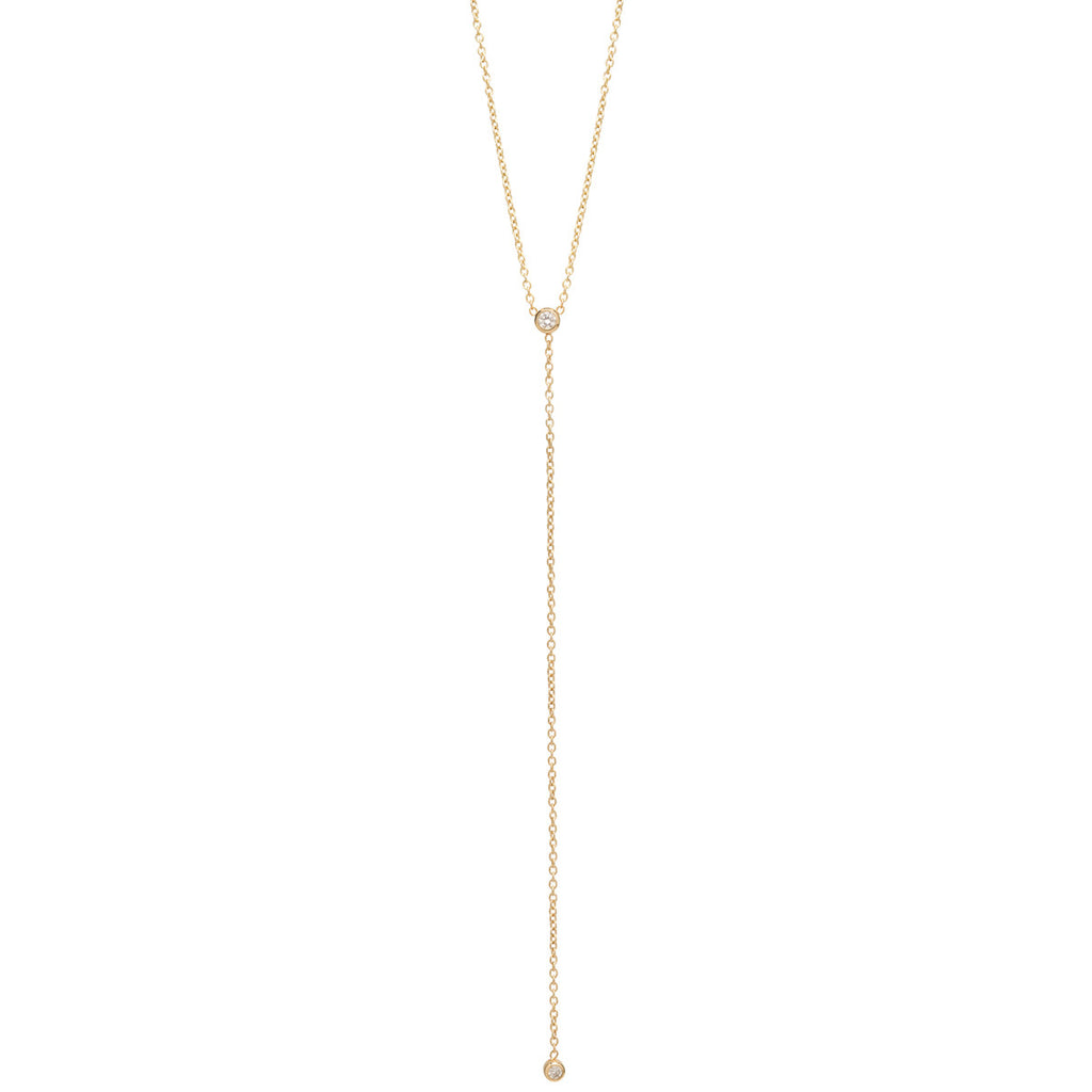 14k bezel diamond lariat necklace