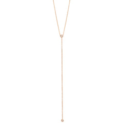 Zoë Chicco 14kt Rose Gold White Diamond Bezel Set Lariat Necklace