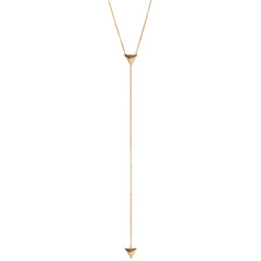 14k triangle pyramid lariat necklace