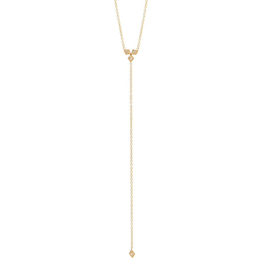 Zoë Chicco 14kt Yellow Gold White Diamond Kite Trio Lariat Necklace
