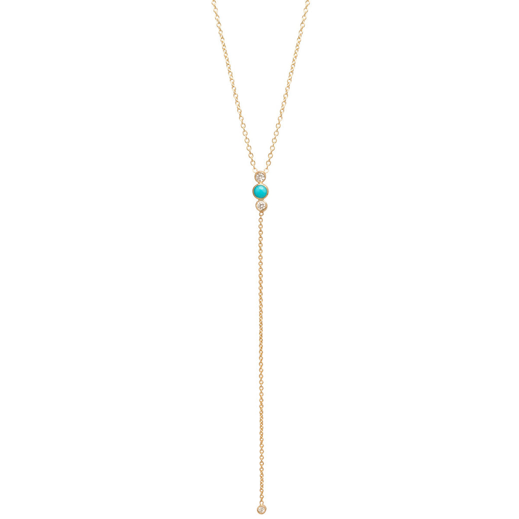 14k turquoise & diamond bezel lariat necklace