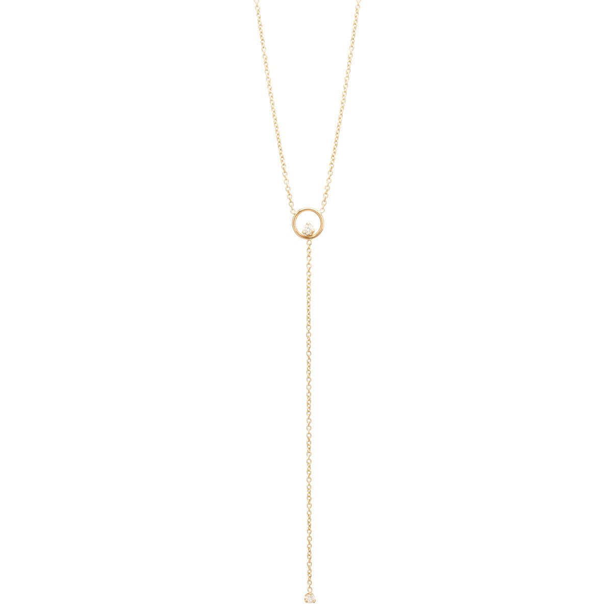 Zoë Chicco 14kt Gold Circle Prong White Diamond Lariat Necklace