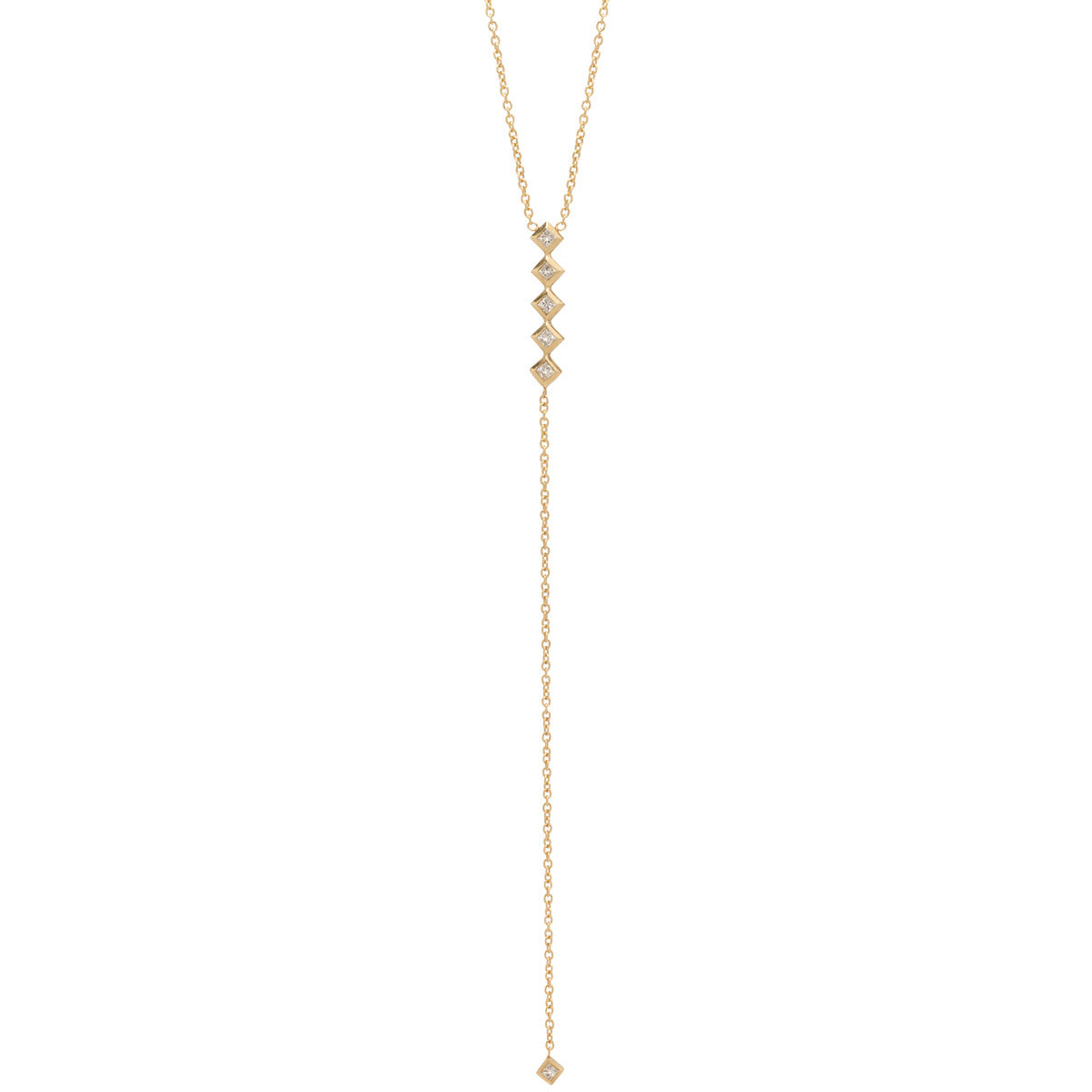 Zoë Chicco 14kt Yellow Gold 6 Princess Cut White Diamond Lariat Necklace