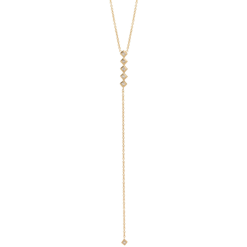14k 6 princess diamond lariat necklace