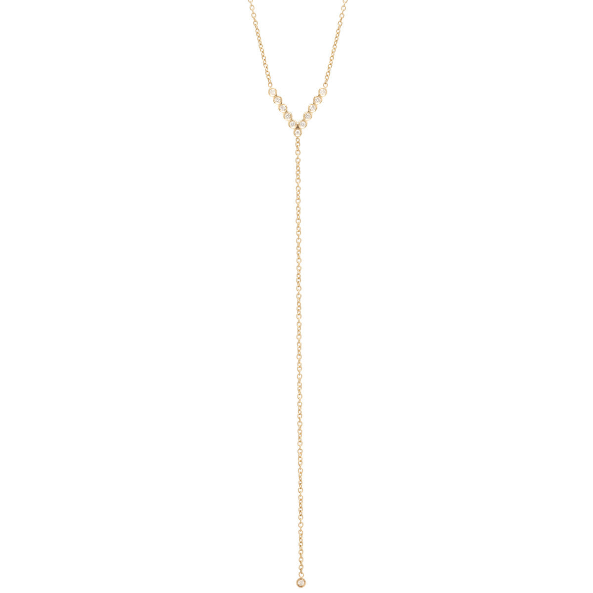 14k bezel diamond v lariat necklace