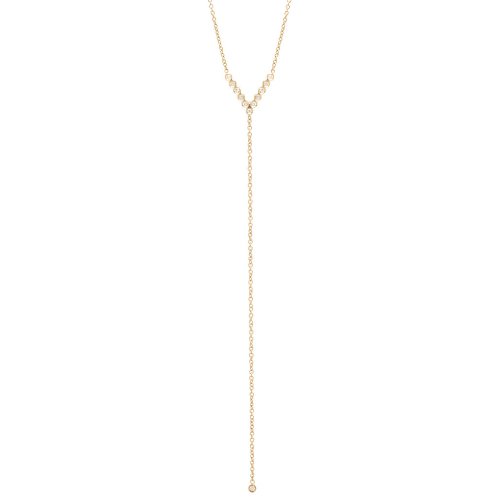 Zoë Chicco 14kt Yellow Gold Bezel Set White Diamond V Lariat Necklace