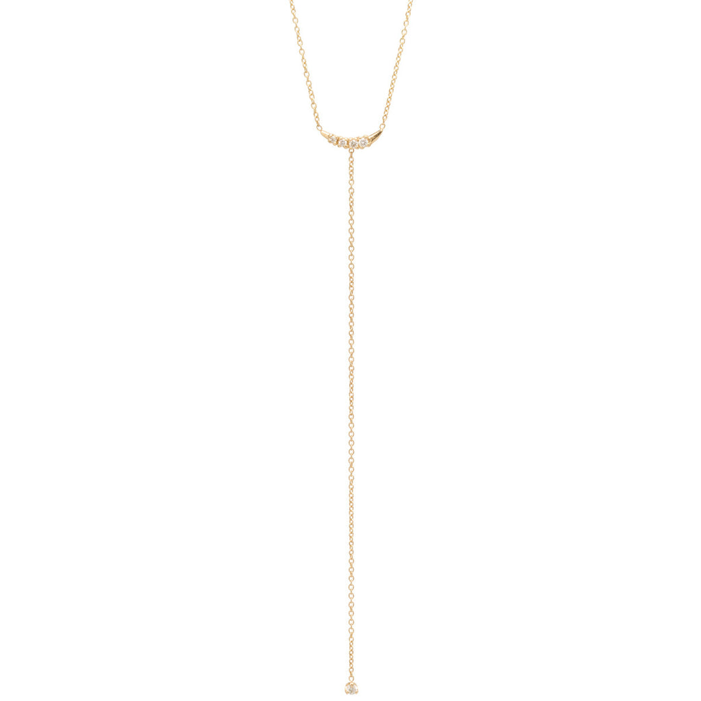 14k prong diamond lariat necklace