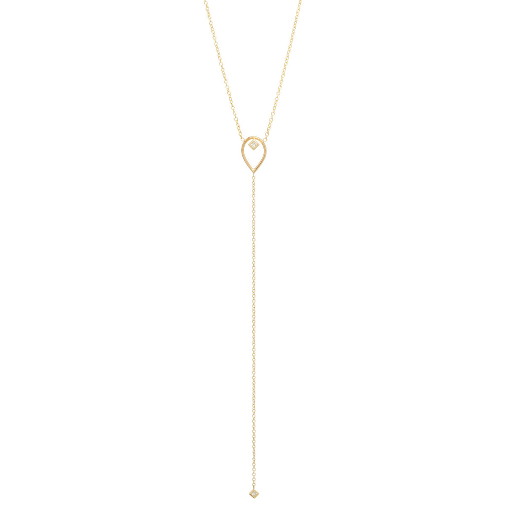 14k open tear diamond lariat