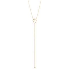 14k open tear princess diamond lariat