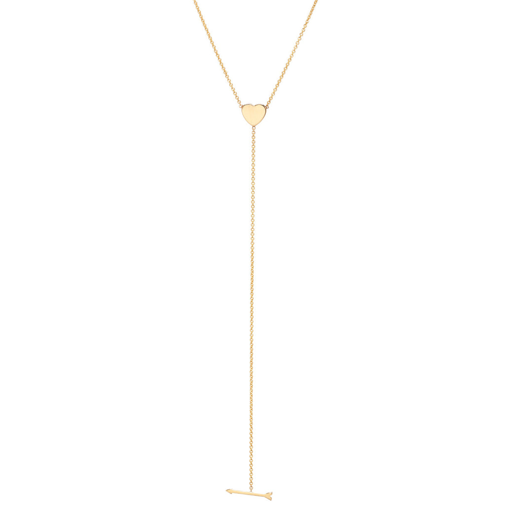 14k heart and arrow lariat necklace