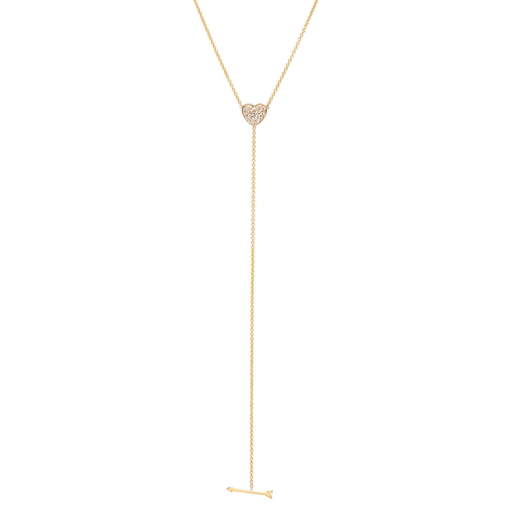 14k pave heart and arrow lariat necklace