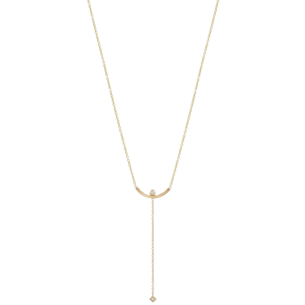Zoë Chicco 14kt Yellow Gold Curved Bar Mixed Diamond Lariat Necklace