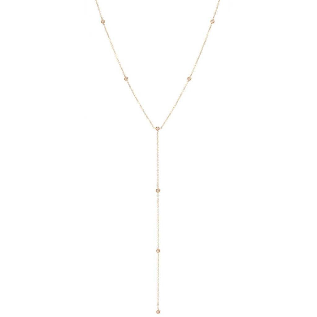 Zoë Chicco 14kt Yellow Gold Floating Diamonds Lariat Necklace