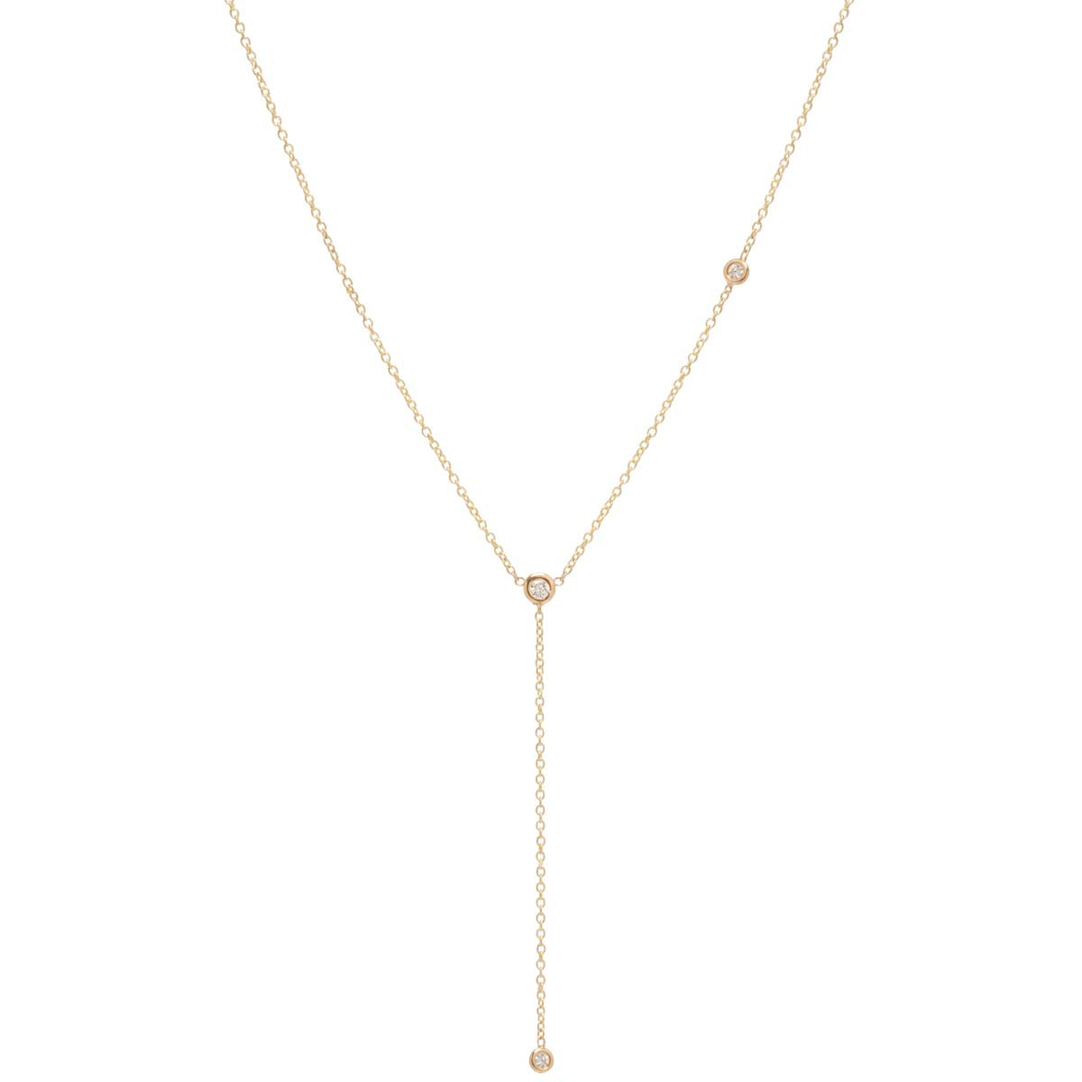 14k off-set floating diamonds lariat