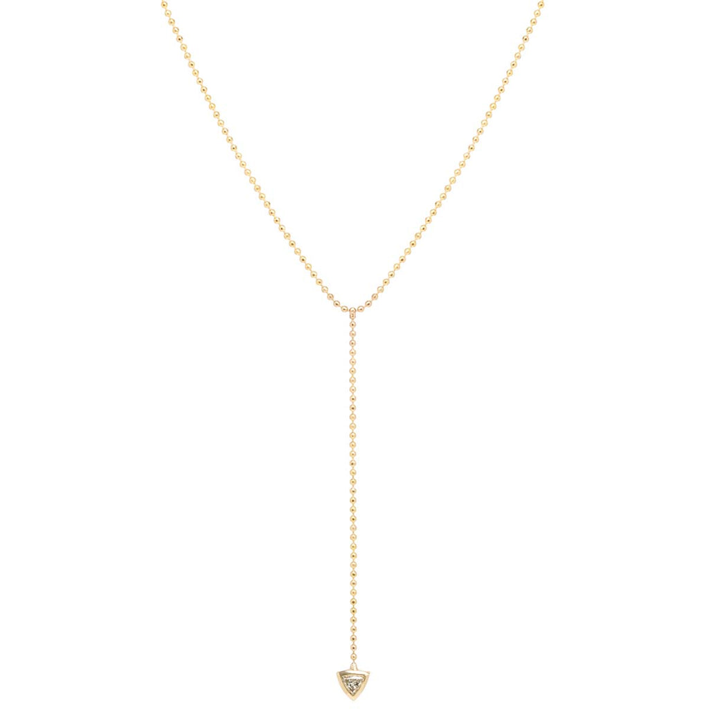 14k single trillion diamond bead chain lariat