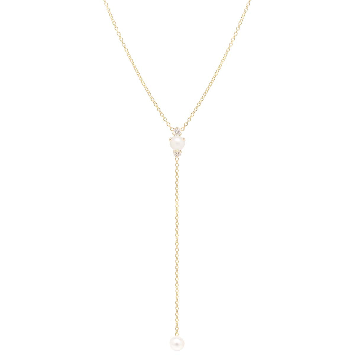 14k prong pearl and diamond lariat