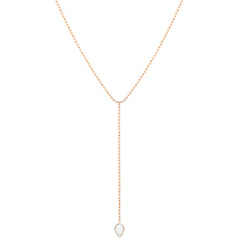 14k single opal bead chain lariat