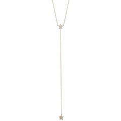 14k pave star lariat necklace