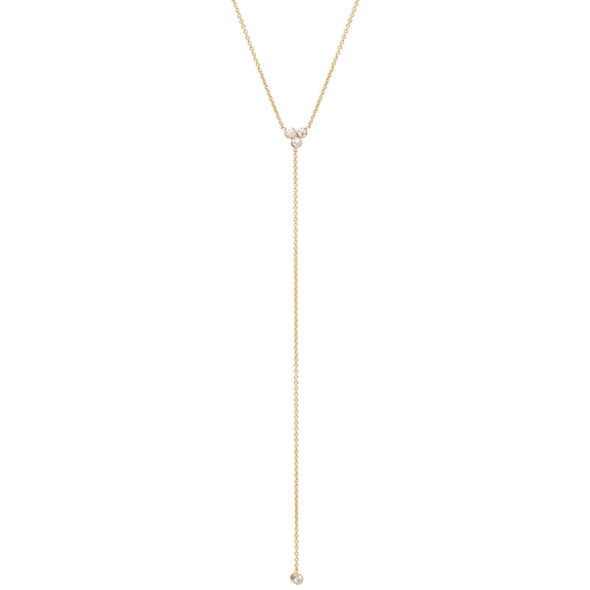 14k trio diamond lariat necklace