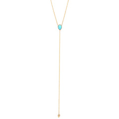 14k turquoise tear lariat necklace