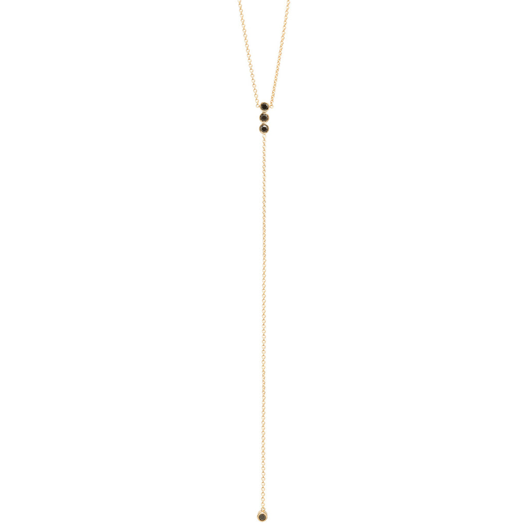 14k bezel set black diamond bar lariat necklace