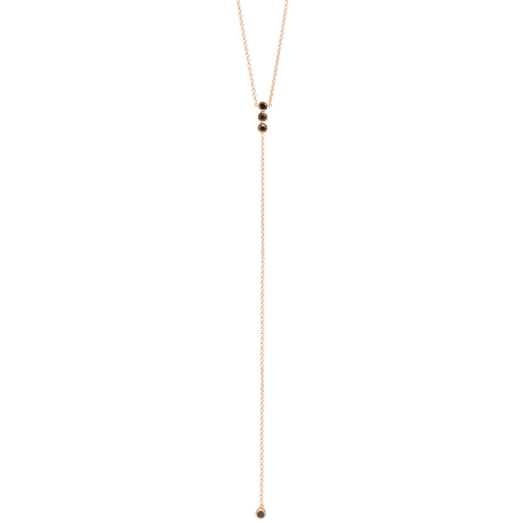 Zoë Chicco 14kt Rose Gold Black Diamond Bar Lariat Necklace