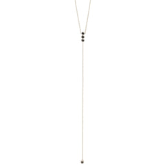 Zoë Chicco 14kt White Gold Black Diamond Bar Lariat Necklace