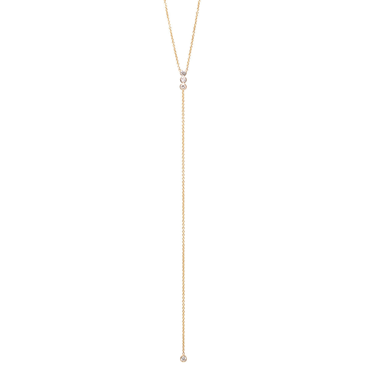 14k bezel set diamond bar lariat necklace