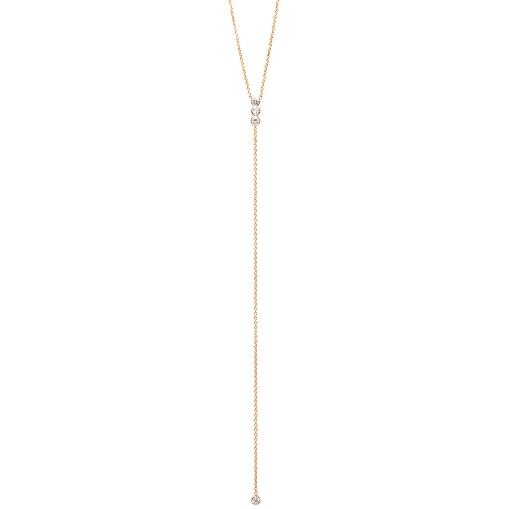 Zoë Chicco 14kt Yellow Gold Bezel Set White Diamond Bar Lariat Necklace
