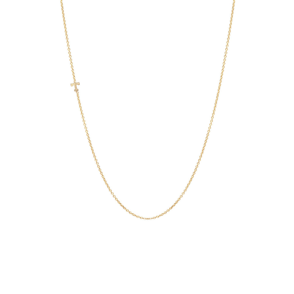 14k tiny gold letter necklace